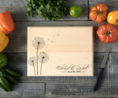 Dandelion Personalized  Cutting Board BW