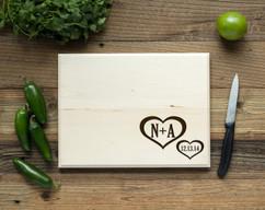 Corner Heart Personalized Cutting Board BW