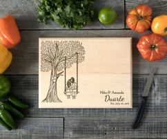 Tree Swing Personalized Engraved Cutting Board BW