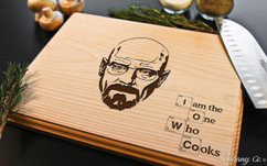I Am The One Who Cooks Personalized Engraved Cutting Board BW