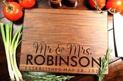 Walnut Personalized Cutting Board ~ Mr. Mrs. Bottom Name