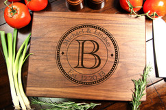 Walnut Personalized Cutting Board ~ Dotted Circle