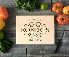 Vintage Family Name Personalized Cutting Board BW