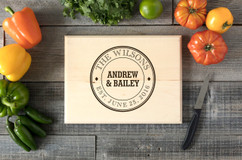 Circle Family Name Personalized Cutting Board BW