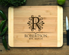 Vintage Floral Initial Personalized Cutting Board HDS