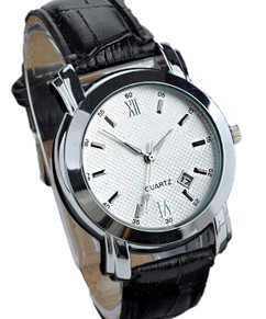 Black Leather Fashion Quartz Watch W#38 - Faleidu