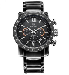 Luxury Quartz Men's Chronograph Stainless Steel Automatic Watch W48 - Regal Black