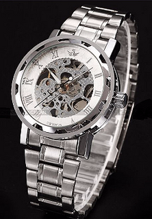 Engraved Silver Skeleton Mechanical Watch W#21 - Glacier