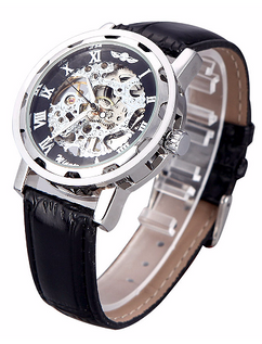 Engraved Black and Silver Skeleton Leather Watch W#27 - Polar