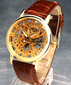 Engraved Gold Leather Skeleton Watch W#19 - Lavo