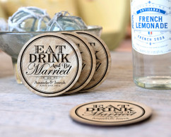 Personalized Coaster Set - Eat Drink Be Married Circle