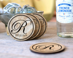 Personalized Coaster Set - Circle Initial