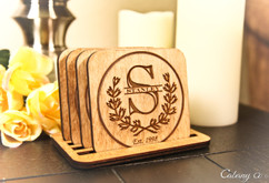 Personalized Coaster Set - Initial Wreath