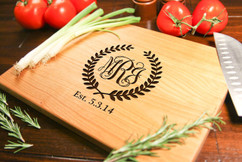 Cherry Personalized Cutting Board ~ Monogram Wreath