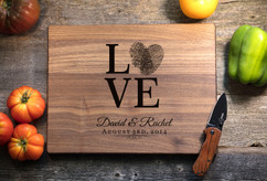 Walnut Personalized Cutting Board ~ Love Fingerprint