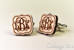 Personalized Wood Cuff Links - Fancy Monogram