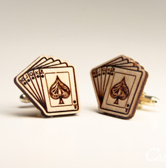 Personalized Wood Cuff Links - Royal Flush