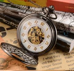 Engraved Men Vintage Mechanical Pocket Watch W#15