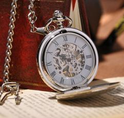 Engraved Men Vintage Mechanical Pocket Watch W#18
