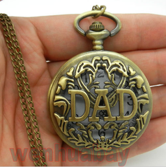 Engraved Men Vintage Mechanical Pocket Watch W#13