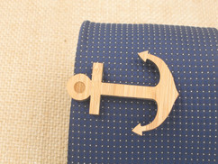 Wooden Tie Clip - Anchor Cutout