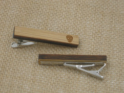 Wooden Tie Clip - Engraved Skull