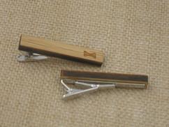 Wooden Tie Clip - Engraved Bow Tie