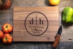 Walnut Personalized Cutting Board ~ Dual Initial