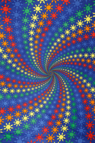 3D Spiral Suns Tapestry