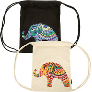 Organic Boho Elephant Drawstring Backpack