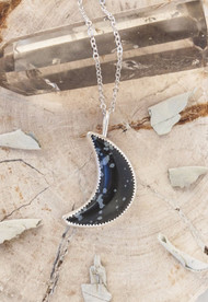 Shadow Moon Obsidian Necklace