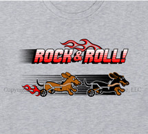 Wheelie Wieners Rock & Roll Dachshund T-Shirt Dachshund Wheelchair