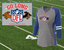 Dachshund Go Long Ladies Football T-Shirt