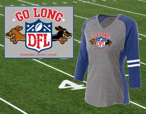 Dachshund Go Long Ladies Football T-Shirt