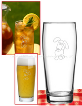 Satin Etched Dachshund Drinking Glasses