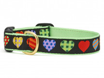 Hearts Dog Collar, Up Country Collar, Ribbon dog collar, dachshund dog collar, novelty dog collar, colorful dog collar