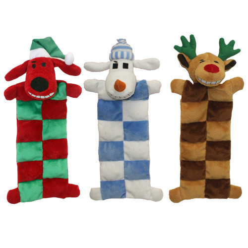 Loofa Dog Holiday Squeaker Mat Toy