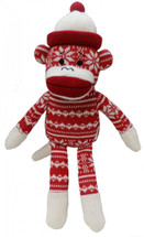 Holiday Sock Monkey Dog Toy