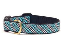 Aqua and Black Plaid Dog Collar