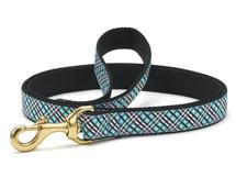 Aqua and Black Plaid Dog Leash