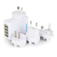 Buddee 4 Port USB Travel Wall Chrgr Interchange Plug AC 6.8A - BD205400-WH