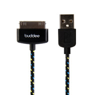Buddee 30Pin Sync/Charge MFI USB Fabric Cable - Black - BD402011-BK