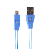Buddee Micro-USB Smily LED Cable BLUE - BD403030-BL