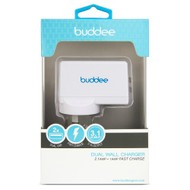 Buddee Wall Charger Dual Port USB 2.1A + 1A - White - BD205200-WH