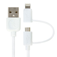 Gecko USB to Lightning & Micro-USB Cable 1m - White