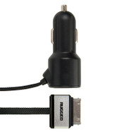 Gecko Rugged Car Charger Single USB Port with Flat 30-Pin Cable 4.8 Amp - Black
