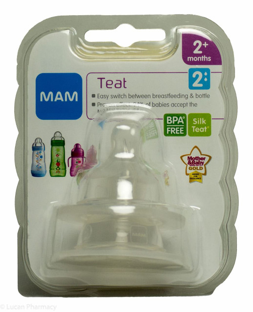 Lucan Pharmacy  MAM Teat 2 Medium Flow Silk Teat® 2+ Months - 2 Pack