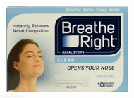 Breathe Right Clear Nasal Strips - 10 Small/Medium Strips