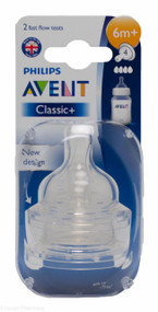 Lucan Pharmacy AVENT Classic + Teats 4 Hole Fast Flow 6 Mnth+ (2 Pack)