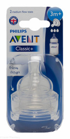 Lucan Pharmacy AVENT Classic + Teats 3 Hole Medium Flow 3 Mnth+ (2 Pack)